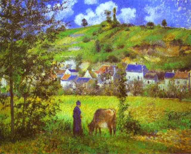 Landscape at Chaponval by Camille Pissarro (1830-1903, France) | Famous Paintings Reproductions | WahooArt.com