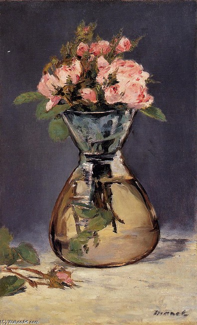 'Mosee Roses in a Vase', Oil by Edouard Manet (1832-1883, France)