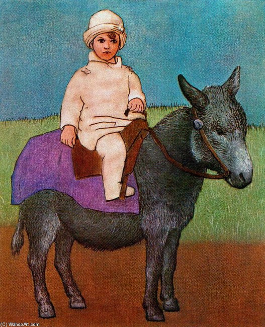 Paul, the artist`s son on a donkey by Pablo Picasso (1881-1973, France) |  | WahooArt.com