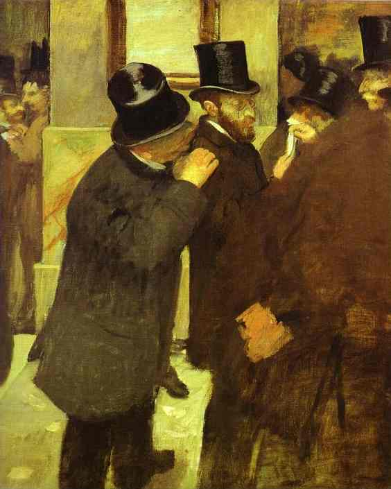 Edgar Degas >> At the Stock Exchange  |  (Oil, artwork, reproduction, copy, painting).