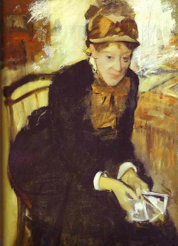 Edgar Degas >> Portrait of Mary Cassatt  |  (Oil, artwork, reproduction, copy, painting).