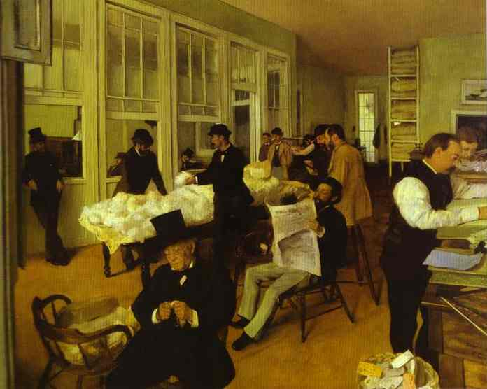 Edgar Degas >> Portraits in a New Orleans Cotton office  |  (Oil, artwork, reproduction, copy, painting).