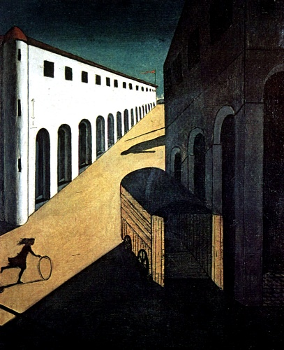 Giorgio de Chirico >> Melancholy and Mystery of a street  |  (Oil, artwork, reproduction, copy, painting).