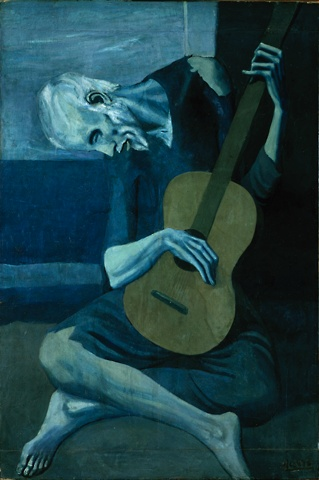 Pablo Picasso >> The Old Guitarist  |  (Oil, artwork, reproduction, copy, painting).