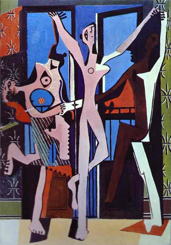 Pablo Picasso >> Three Dancers  |  (Oil, artwork, reproduction, copy, painting).