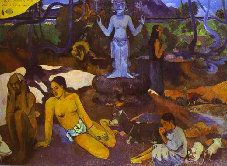 Paul Gauguin >> D'où venons nous Que sommes-nous Où allons-nous (Where Do We come from. What Are We. where Are We Going) (2)  |  (Oil, artwork, reproduction, copy, painting).