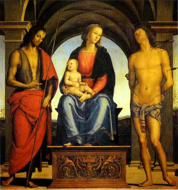 Pietro Perugino >> Madonna and Child Enthroned with St. John the Baptist and St. Sebastian  |  (Oil, artwork, reproduction, copy, painting).