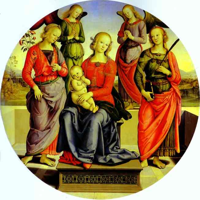 Pietro Perugino >> The Virgin and Child Surrounded by Two Angels, St. Rose, and St. Catherine  |  (Oil, artwork, reproduction, copy, painting).