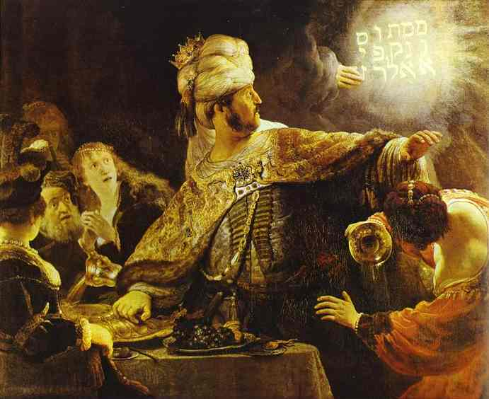 Rembrandt van Rijn >> The Feast of Belshazzar  |  (Oil, artwork, reproduction, copy, painting).