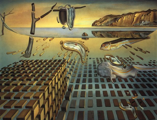 Salvador Dali >> The Disintegration of Persistence of Memory, 1952-54  |  (Oil, artwork, reproduction, copy, painting).