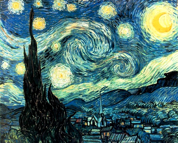 Vincent Van Gogh >> The Starry Night [June 1889]  |  (Oil, artwork, reproduction, copy, painting).