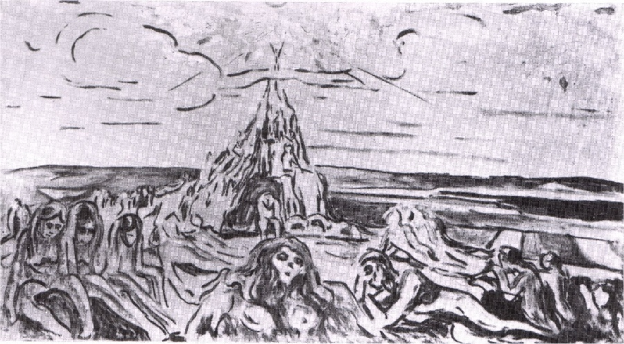 Edvard Munch >> Mountain of humanity with the sun of Zarathustra (1910)  |  (, artwork, reproduction, copy, painting).