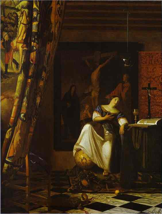 Jan Vermeer >> Allegory of Faith  |  (Oil, artwork, reproduction, copy, painting).