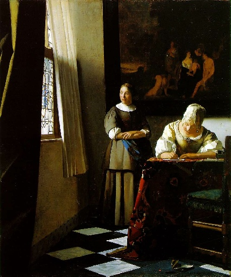 Jan Vermeer >> Lady Writing a Letter with Her Maid [c. 1670]  |  (Oil, artwork, reproduction, copy, painting).