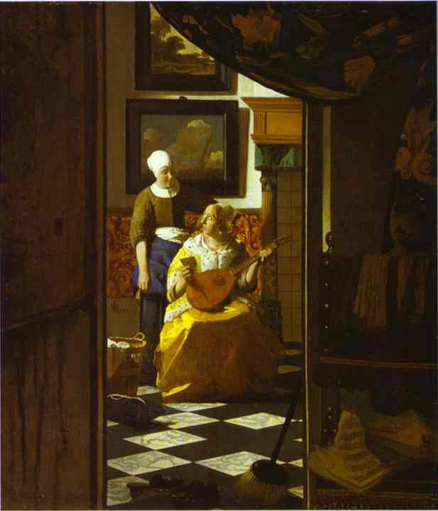 Jan Vermeer >> The Love Letter  |  (Oil, artwork, reproduction, copy, painting).