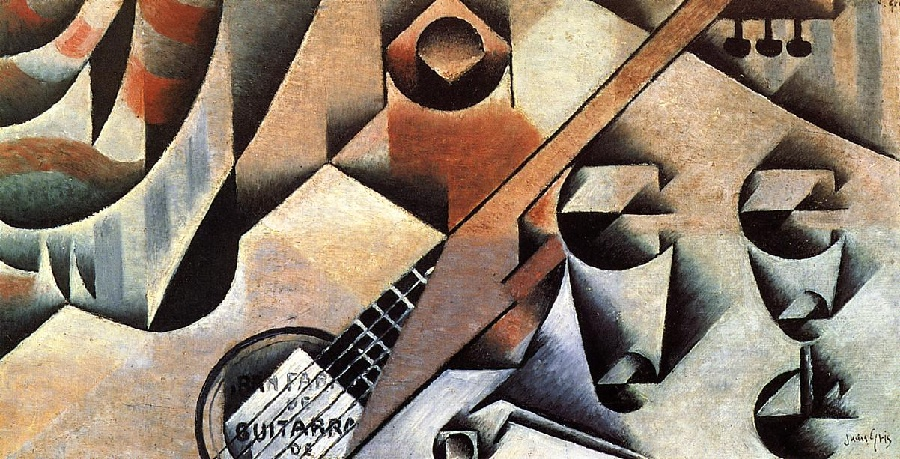 Juan Gris >> Guitar and Glasses aka Banjo and Glasses (1912)  |  (Oil, artwork, reproduction, copy, painting).