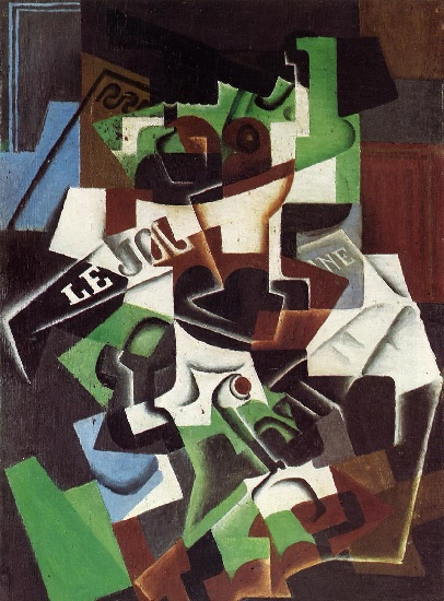 Juan Gris >> Fruit Bowl, Pipe and Newspaper aka Frutero, Pipa y Peridico (1917)  |  (Oil, artwork, reproduction, copy, painting).