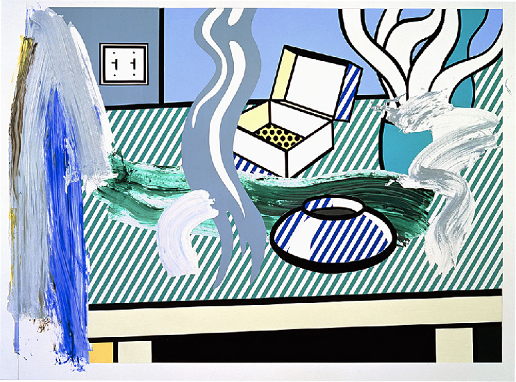 Roy Lichtenstein >> Collage for Brushstroke Still Life with Box (1996)  |  (Oil, artwork, reproduction, copy, painting).