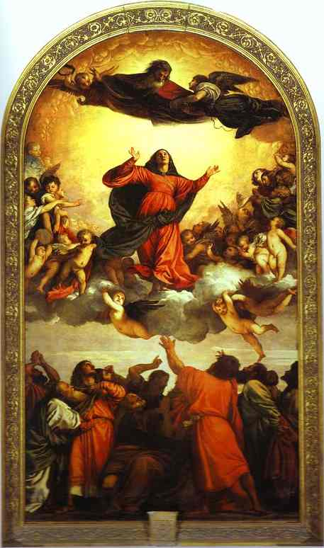 Titian - Tiziano Vecelli >> Assumption of the Virgin (Assunta)  |  (Oil, artwork, reproduction, copy, painting).
