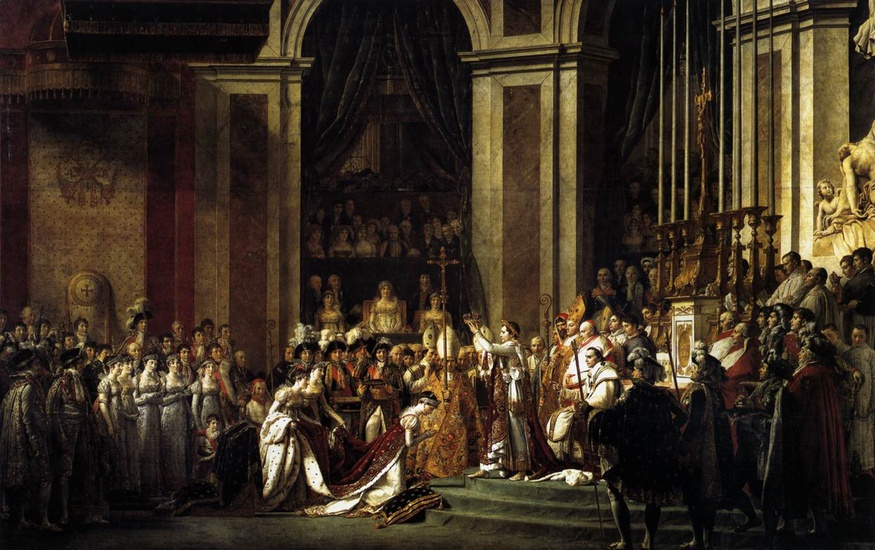 Jacques-Louis David >> Consecration of the Emperor Napoleon I and Coronation of the Empress Josephine  |  (Oil, artwork, reproduction, copy, painting).