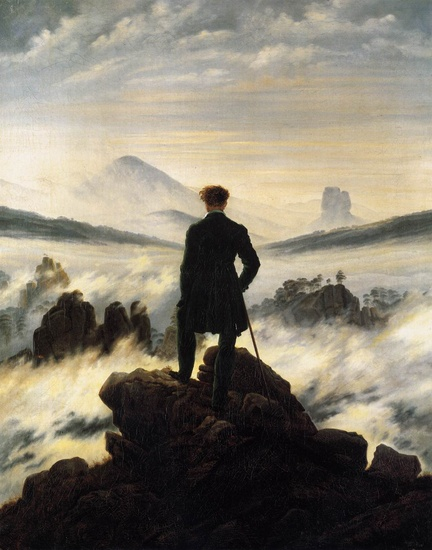 Caspar David Friedrich >> The Wanderer above the Mists  |  (Oil, artwork, reproduction, copy, painting).