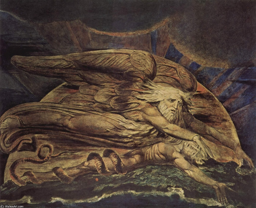 William Blake >> Elohim erschuf Adam  |  (Watercolor, artwork, reproduction, copy, painting).