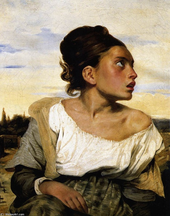 Eugène Delacroix >> Girl Seated in a Cemetery  |  (Oil, artwork, reproduction, copy, painting).