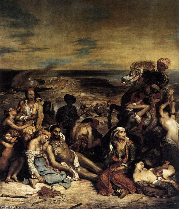 Eugène Delacroix >> The Massacre at Chios  |  (Oil, artwork, reproduction, copy, painting).