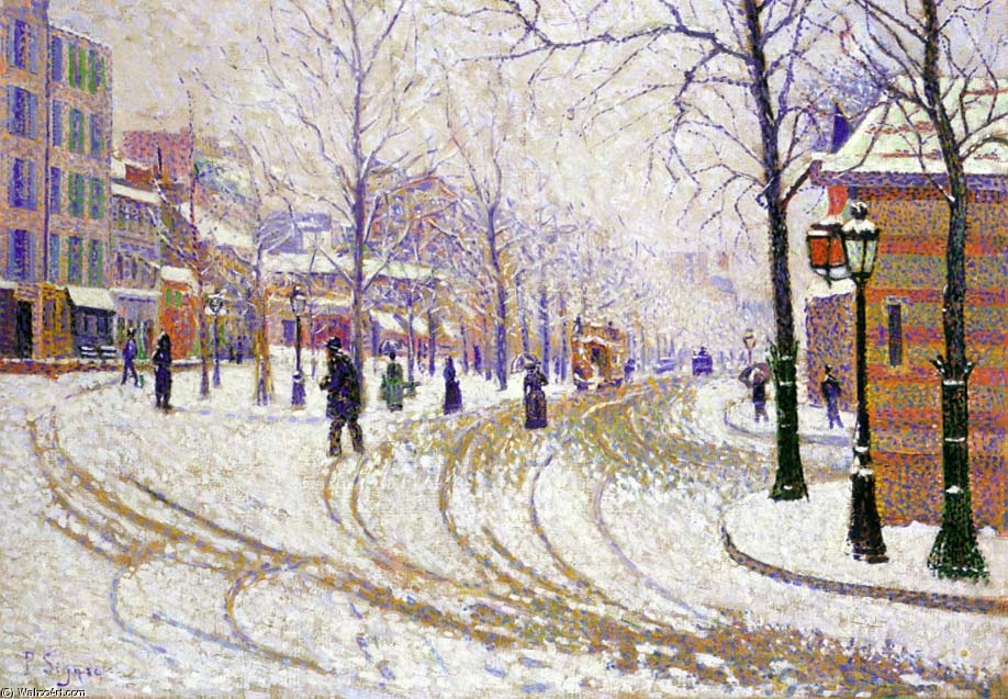 Paul Signac >> Snow, Boulevard de Clichy, Paris  |  (Oil, artwork, reproduction, copy, painting).
