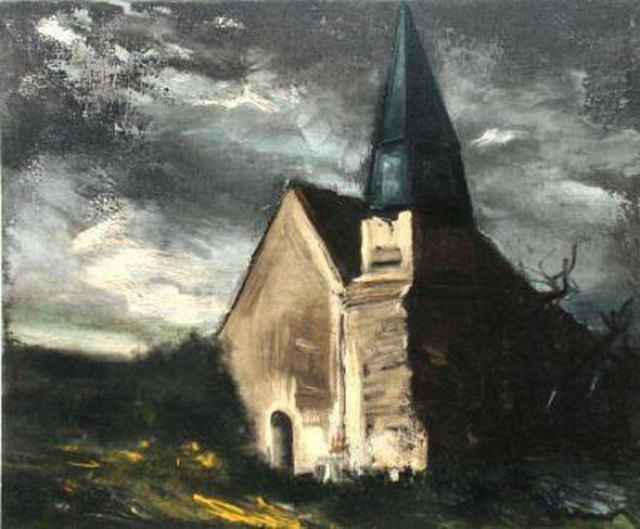 Maurice de Vlaminck >> The Church of Saint Lubin  |  (Oil, artwork, reproduction, copy, painting).