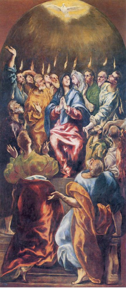 El Greco - Dominikos Theotokopoulos >> Pentecost  |  (Oil, artwork, reproduction, copy, painting).