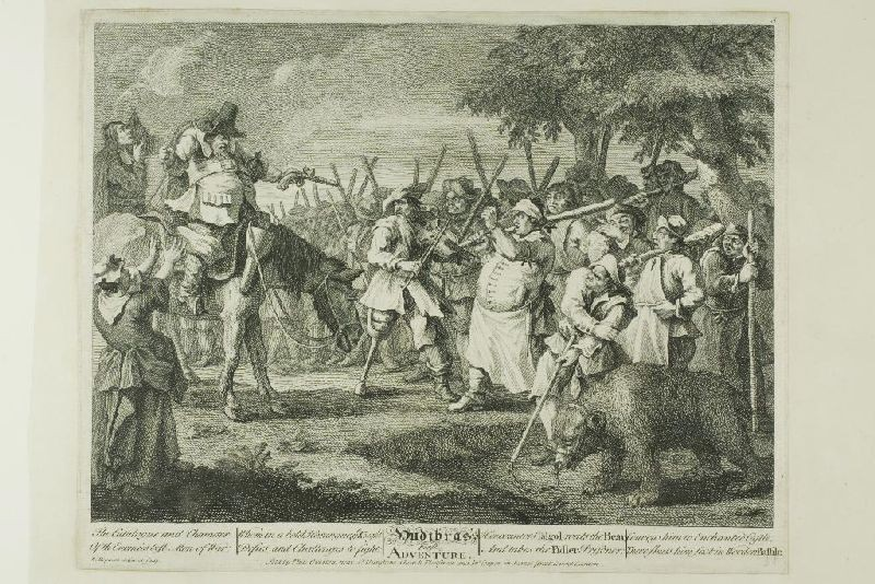 William Hogarth >> Hudibras' First Adventure, plate three from Hudibras  |  (Watercolor, artwork, reproduction, copy, painting).