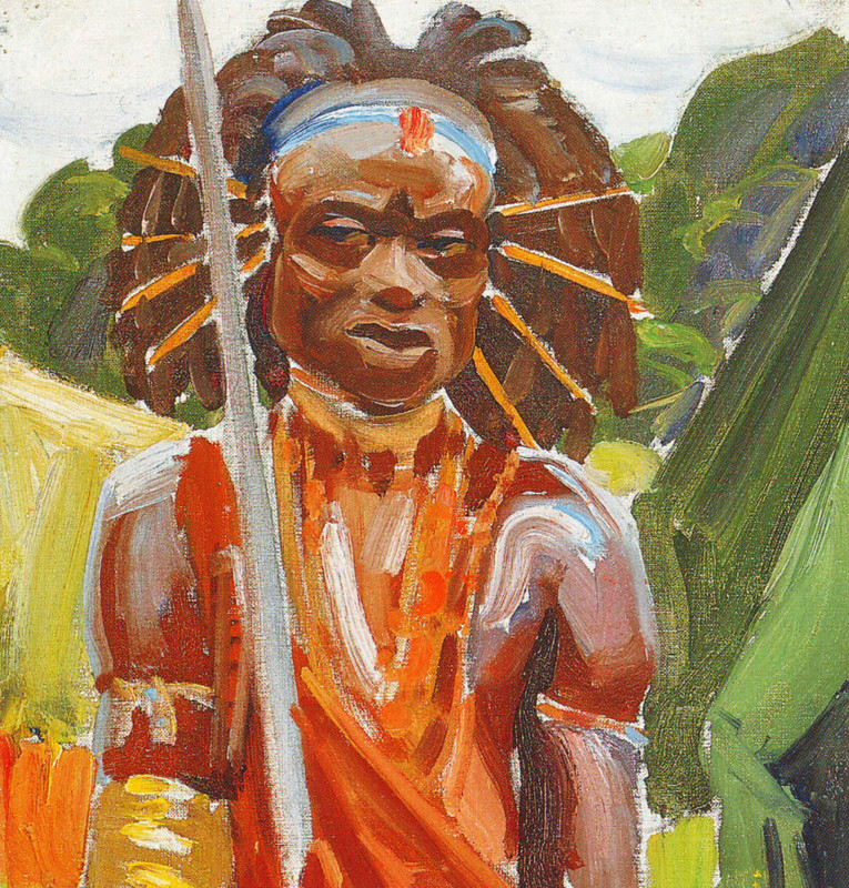Akseli Gallen-Kallela >> Kikuyu Warrior  |  (Oil, artwork, reproduction, copy, painting).