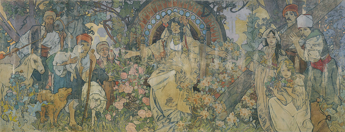 Alphonse Maria Mucha >> The Allegory of Bosnia Herzegovina  |  (Oil, artwork, reproduction, copy, painting).