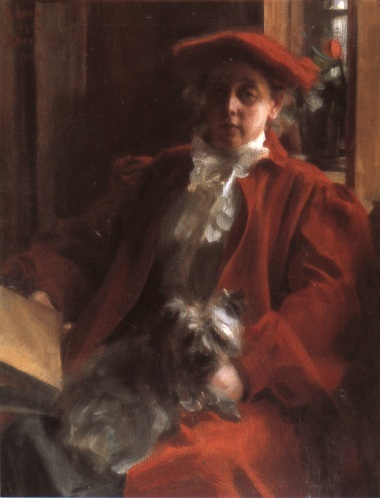 Anders Zorn >> Emma Zorn och hunden Mouche  |  (Oil, artwork, reproduction, copy, painting).