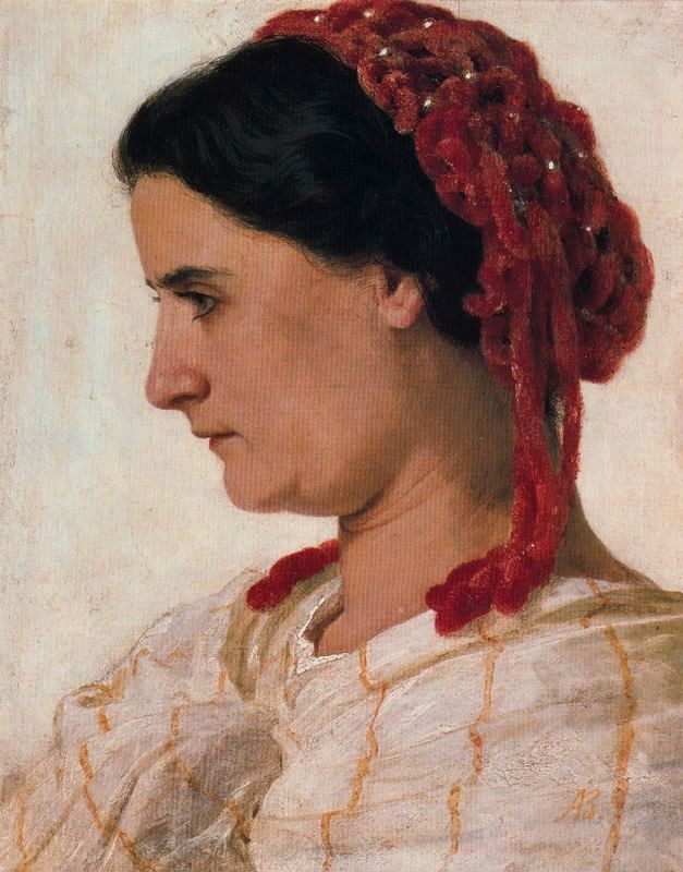 Arnold Bocklin >> Portrait d'Angela Böcklin à la rèsille rouge  |  (Oil, artwork, reproduction, copy, painting).