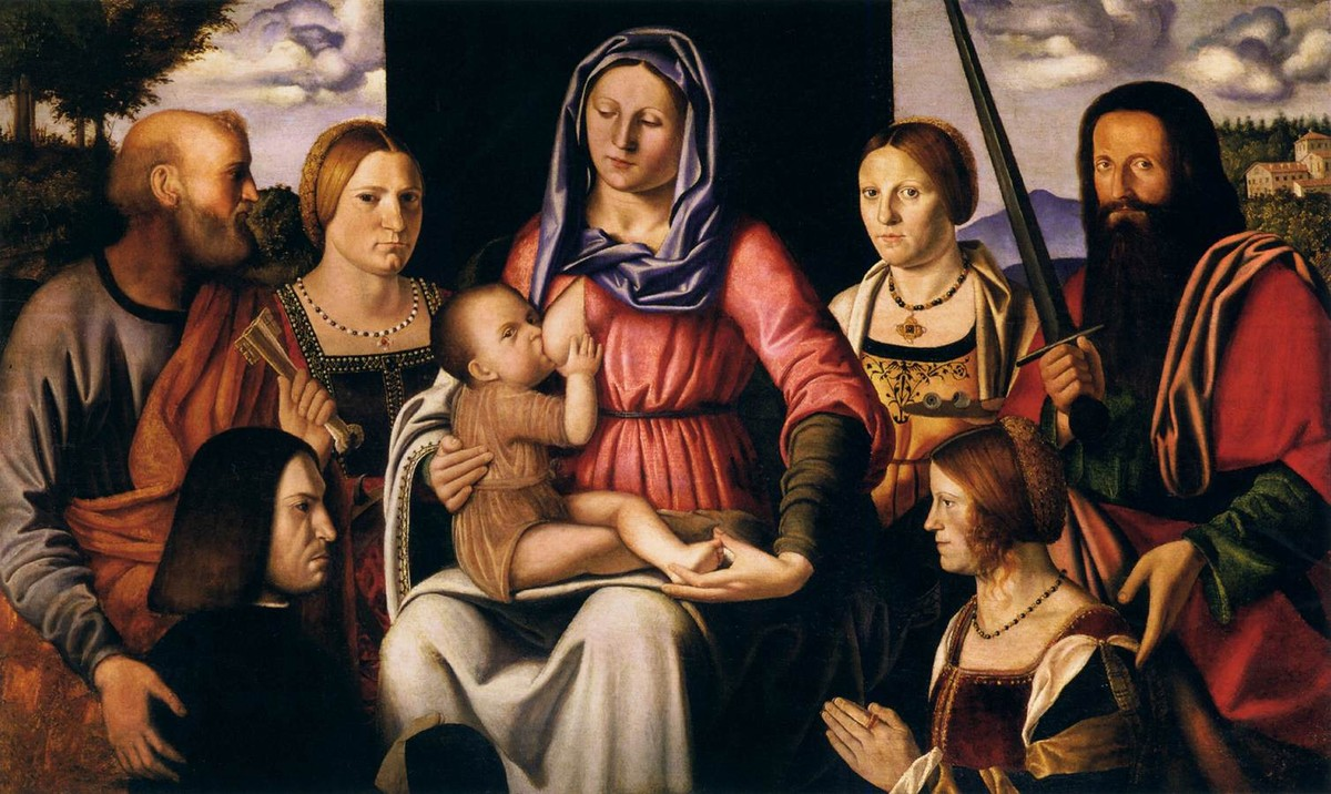 Bernardino Luini >> Virgin and Child with Saints and Donors  |  (Oil, artwork, reproduction, copy, painting).
