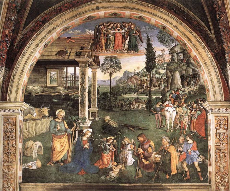 Bernardino Pinturicchio >> Adoration Of The Child  |  (Oil, artwork, reproduction, copy, painting).
