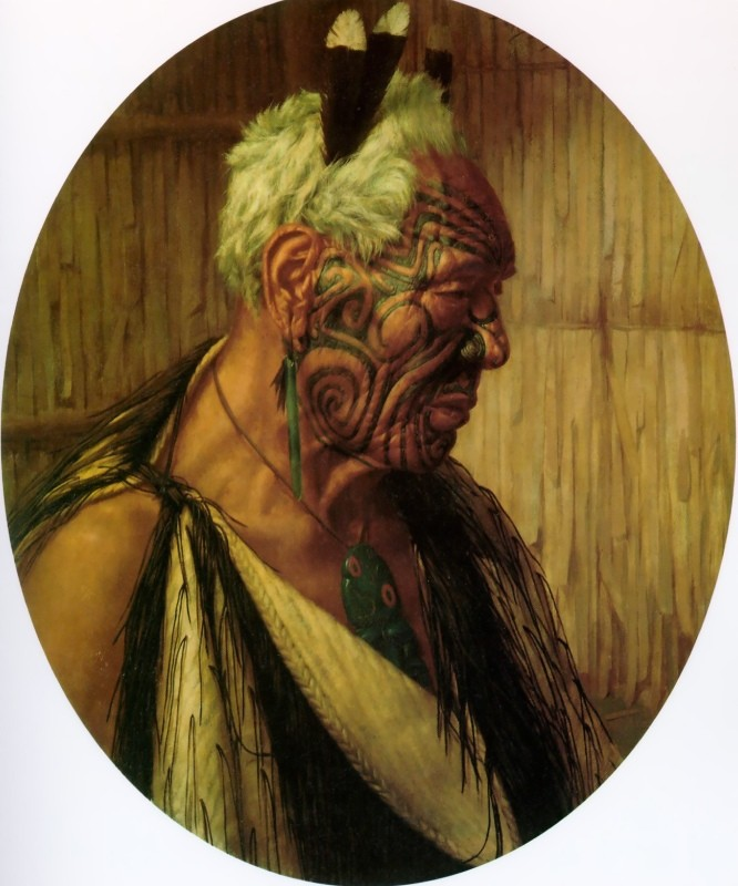 Charles Goldie >> A Noble Relic of a Noble Race. Wharekauri Tahuna  |  (Oil, artwork, reproduction, copy, painting).