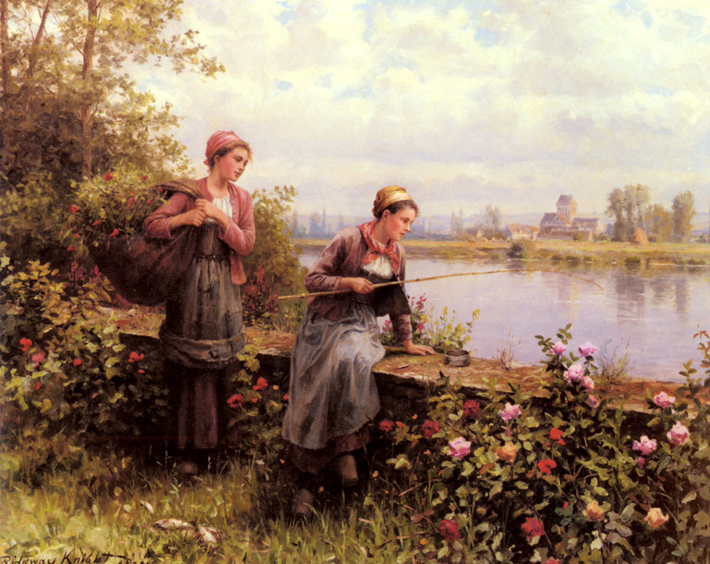 Daniel Ridgway Knight >> Maria And Madeleine Fishing  |  (Oil, artwork, reproduction, copy, painting).