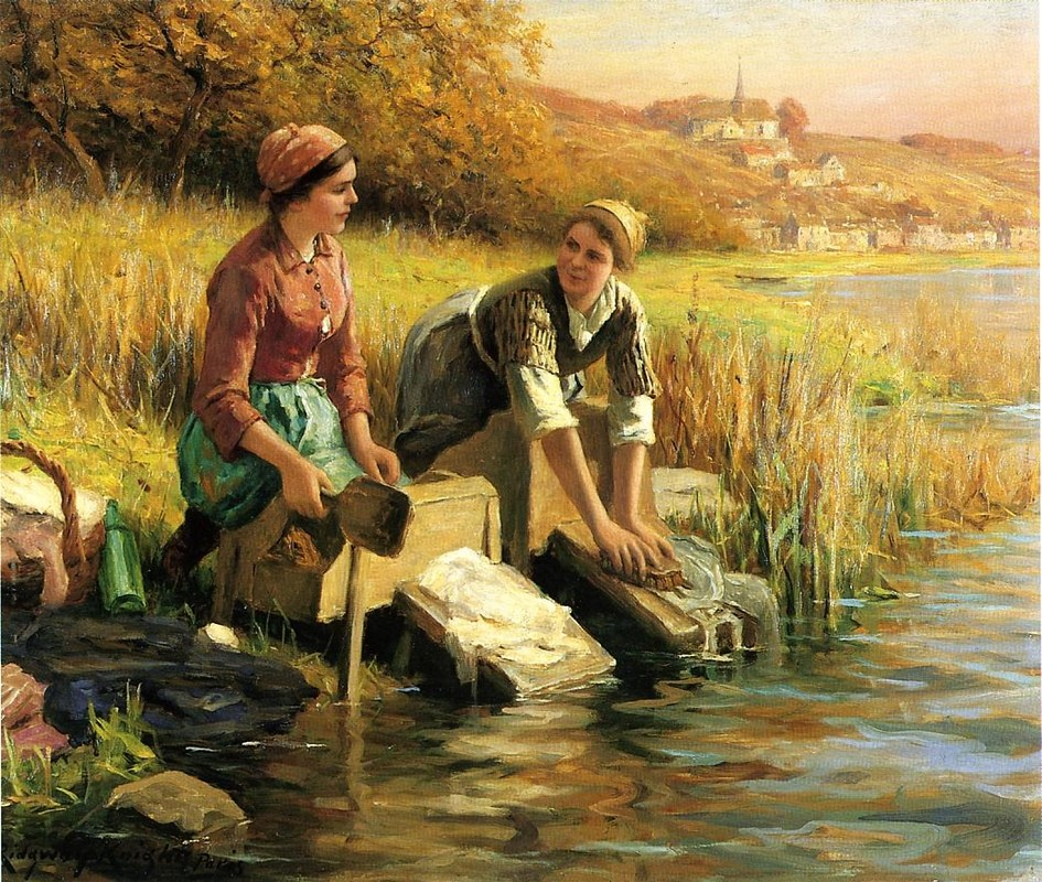 Daniel Ridgway Knight >> Women Washing Clothes by a Stream  |  (Oil, artwork, reproduction, copy, painting).
