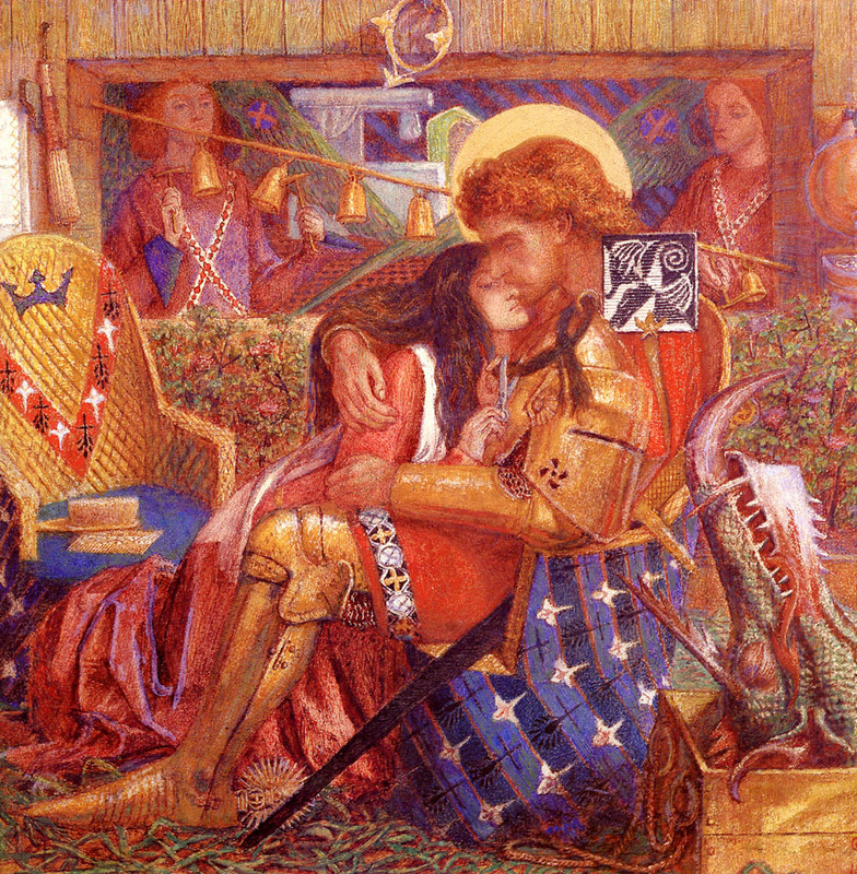 Dante Gabriel Rossetti >> The Wedding of Saint George and the Princess Sabra  |  (Oil, artwork, reproduction, copy, painting).