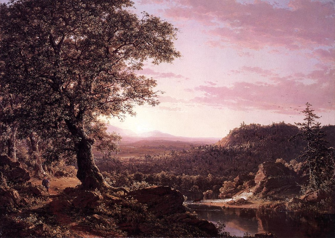 Frederic Edwin Church >> July Sunset, Berkshire County, Massachusetts  |  (Oil, artwork, reproduction, copy, painting).