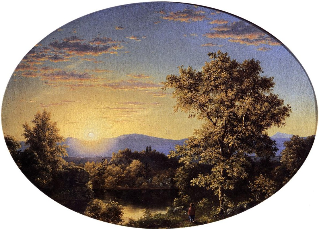 Frederic Edwin Church >> Twilight among the Mountains  |  (Oil, artwork, reproduction, copy, painting).