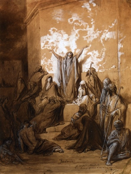 Gustave Doré >> Jeremiah Preaching to His Followers  |  (Drawing, artwork, reproduction, copy, painting).