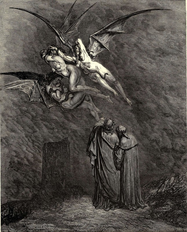 "Gustave Doré >> The Inferno, Canto 9, line 46. ""Mark thou each dire Erinnys.  
