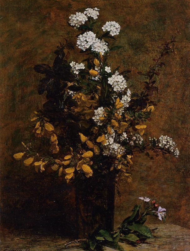 Ignace-Henri-Jean-Théodore Fantin-Latour >> Broom and Other Spring Flowers in a Vase  |  (Oil, artwork, reproduction, copy, painting).