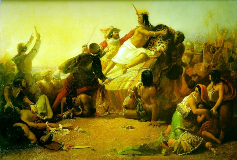 John Everett Millais >> Pizarro Seizing the Inca of Peru  |  (Oil, artwork, reproduction, copy, painting).