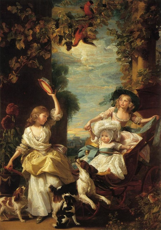 John Singleton Copley >> The Three Youngest Daughters of George III  |  (Oil, artwork, reproduction, copy, painting).