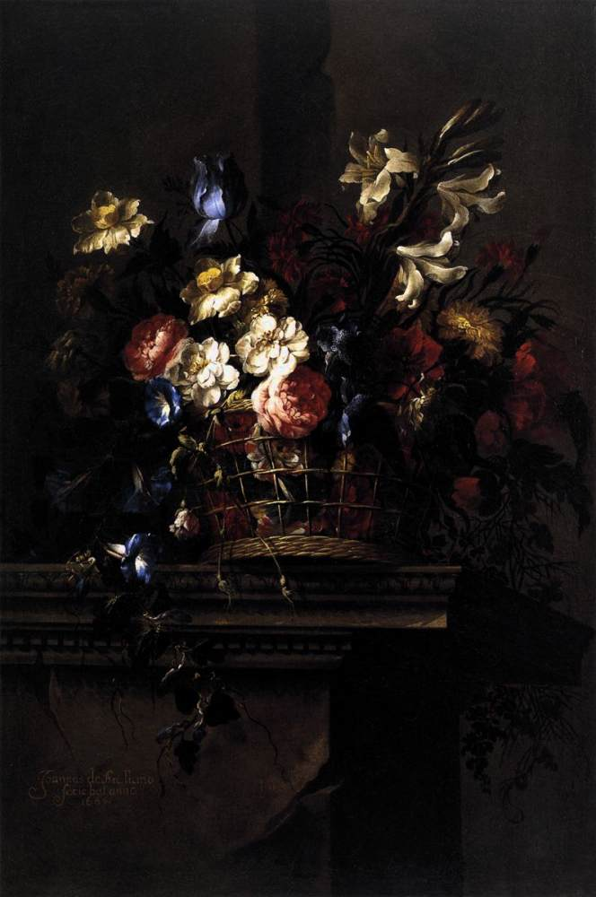 Juan de Arellano >> Basket of Flowers on a Plinth  |  (Oil, artwork, reproduction, copy, painting).